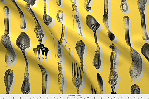 Spoonflower Toile De Jouy Fabric Cutlery De Jouy by Maja Studio Printed on Lightweight Cotton Twill Fabric by the (French Provencal Decor)