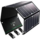 Solar Charger RAVPower 24W Solar Panel with Triple USB Ports Waterproof Foldable for Smartphones Tablets and Camping Travel (Certified Refurbished)