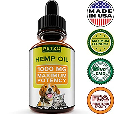 Hemp Oil Dogs Cats - 1000mg - Full Spectrum Hemp Extract - Advanced Formula - Grown & Made in USA - Omega 3, 6 & 9 - Supports Hip & Joint Health, Natural Relief Pain, Separation Anxiety