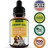 Full Spectrum Hemp Oil for Dogs and Cats - 1000 mg - Supports Hip & Joint Health, Natural Relief for Pain, Anxiety & Separation - 100% Pure Hemp Extract - Non-GMO - Easily Apply to Treats