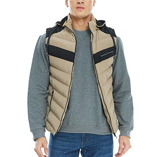 Hooded Winter Vest - APRAW Men's Down Vest Removable Hooded Winter Casual Work Sports Travel Outdoor Padded Puffer Pockets Khaki