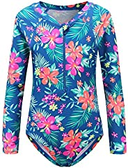HowJoJo Girls One Piece Swimsuit Long Sleeve Swimwear Rash Guard Bathing Suits for Girls