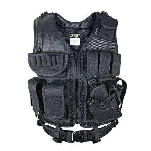Swat Tactical Vest Costume (SMARTSTANDARD Large Size Military Beathable Molle Tactical Vest Cs Field Outdoor Supplies Combat Training Vest)