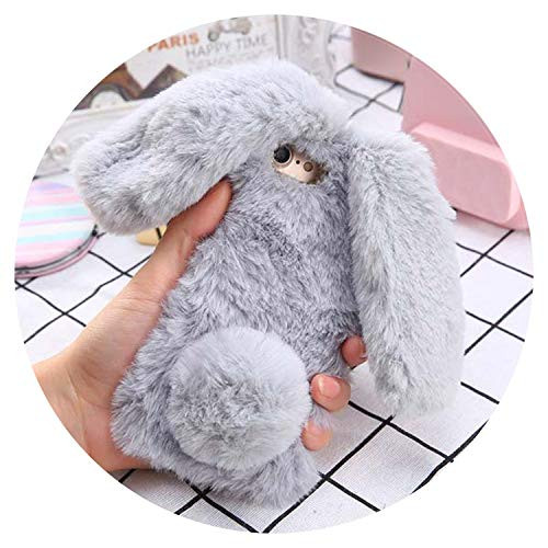 Mobile Phone Cases for iPhone X 8 7 6 6s Plus Case Cute Soft Fluffy TPU Long Ear Rabbit Fur Hair Back Cover Bling Diamond Shell,Gray,for iPhone 8 Plus