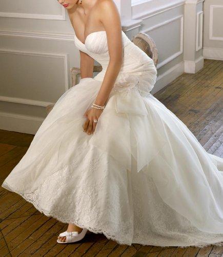 Kleidungen Ausschnitt Brautkleider Satin Weiß Schleppe Herz Damen Kapelle Dearta Meerjungfrau gOUPPq