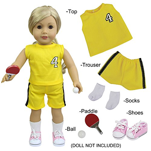 - ZITA ELEMENT American 18 Inch Girl/BOy Doll Sport Style Clothes and Accessories - 6 PCS Sporty Kits with Table Tennis, Paddle, Socks & Shoes for 18