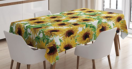 Ambesonne Sunflower Decor Tablecloth by, Dried Sunflowers Illustration Wildflowers Branch Herbarium Artistic Design Fine Art, Dining Room Kitchen Rectangular Table Cover, 52 X 70 ()