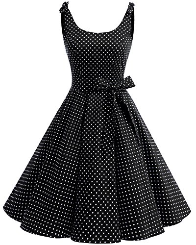 Bbonlinedress 1950's Bowknot Vintage Retro Polka Dot Rockabilly Swing Dress Black White Dot XS