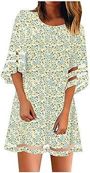 Womens Summer Dresses 3/4 Bell Sleeve Mesh Panel Dress Casual Flower A Line Sun Dresses Women Floral Beach Dre