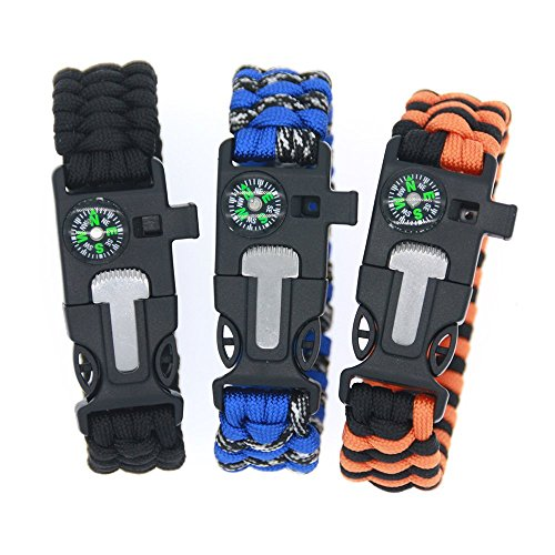 3Bears Outdoor Survival Paracord Bracelet with Compass Fire Starter and Emergency Whistle(Black, Blue,Orange, Pack of 3) -