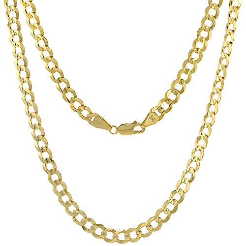 10K Yellow Gold Curb Link Chain Necklace Concaved Beveled Edges 5.7mm 24 inch