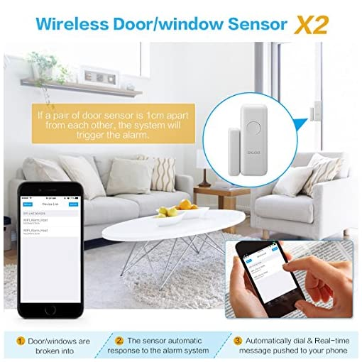 DIGOO Wireless Home and Business Security Alarm System, With Auto Dial and  APP Control Function, Come with PIR Detector, Doorbell Button, Door Window