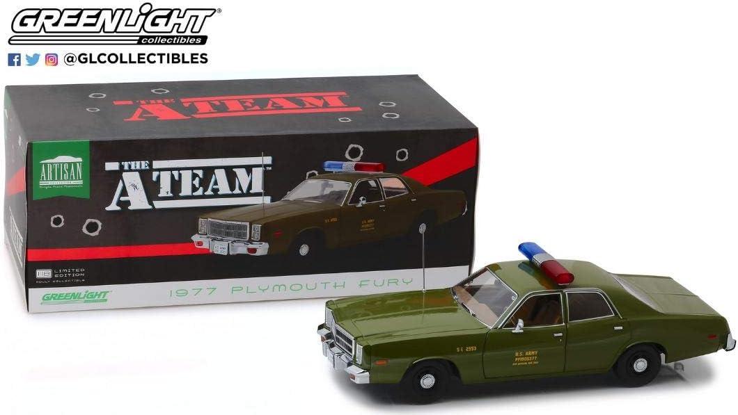 Plymouth Fury 1977 a-Team US Army Colonnello Decker modello di auto 1:18 Greenlight