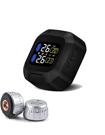 TPMS Motorcycle Tire Pressure Monitoring System Autobike Tyre Alarm LCD Real Time Monitor Pressure Temperature Rechargeable