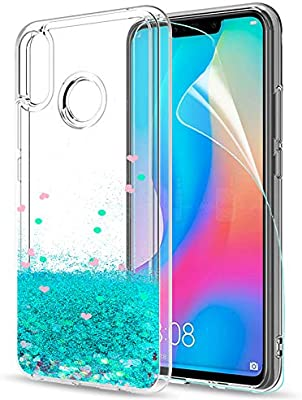 LeYi Funda Huawei P Smart Plus Silicona Purpurina Carcasa con HD Protectores de Pantalla,Transparente Cristal Bumper Telefono Gel TPU Fundas Case ...