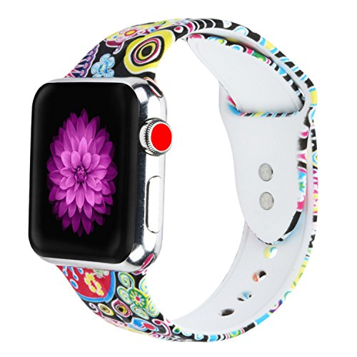 Cumeou Compatible with Apple Watch Band 40mm 44mm 38mm 42mm with Protective case Compatible with iwatch Series 4 3 2 1, Silicone Printed Sport Bands Bracelet Strap for Men Women