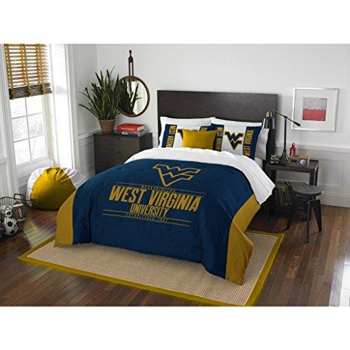 3 Piece West Virginia Mountaineers Comforter Set Full/Queen Size, Printed Team Logo Unisex Sports Fan College Dorm Bedding, University American Football Fandom Decor, Sport Lover Athletic, Blue, Gold