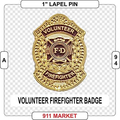 Volunteer Firefighter Badge Lapel Pin Gold VFF Fireman Fire Department - A -