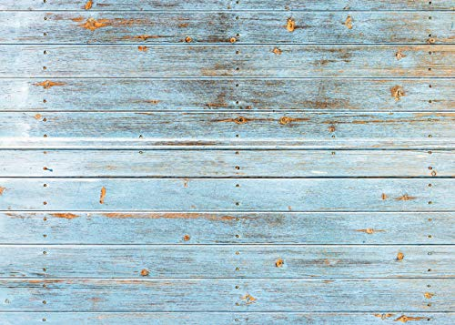hotography Backdrops Blue Wood Floor Backdrop Baby Newborn Photo Background for Photo Booth Studio Props 11-427 ()