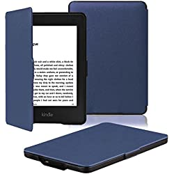 OMOTON Kindle Paperwhite Case Cover - PU Leather Smart Cover for All-New Kindle Paperwhite (Fits All versions: 2012, 2013, 2014 and 2015 All-new 300 PPI Version), Navy Blue