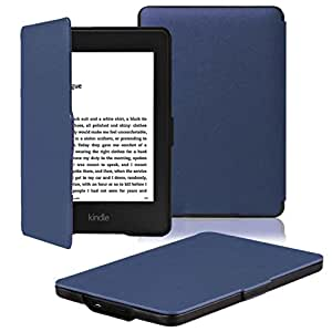 OMOTON Kindle Paperwhite Case Cover - The Thinnest Lightest PU Leather Smart Cover Kindle Paperwhite fits all Paperwhite generations prior to 2018 (Will not fit All Paperwhite 10th Gen),Navy Blue