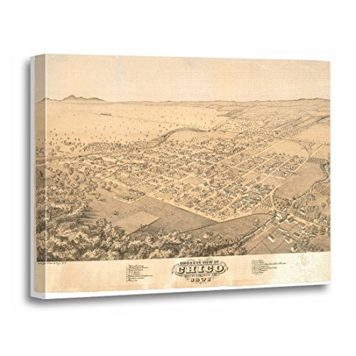California Ca Panoramic Map - TORASS Canvas Wall Art Print Views Chico Ca Panoramic Map 1871 California Artwork for Home Decor 16