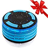 100% Certified Waterproof Bluetooth Speaker, Portable + Wireless Shower FM Radio That Pairs To ALL Bluetooth Devices - Phones, Tablets, Computer, Apple Watch - LED Mood lights, Super HD Sound, Wet it!