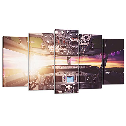 Kreative Arts - Large Canvas Wall Art Prints Airplane Interior Cockpit View Inside The Airliner Painting 5 Pieces Large Framed Canvas Art Sunny Skye Picture Artwork for Home Office Decoration