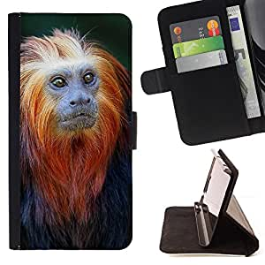 BullDog Case - FOR/Samsung Galaxy S4 Mini i9190 / - / monkey tiny cute ape tropical exotic /- Monedero de cuero de la PU Llevar cubierta de la caja con el ID Credit Card Slots Flip funda de cuer