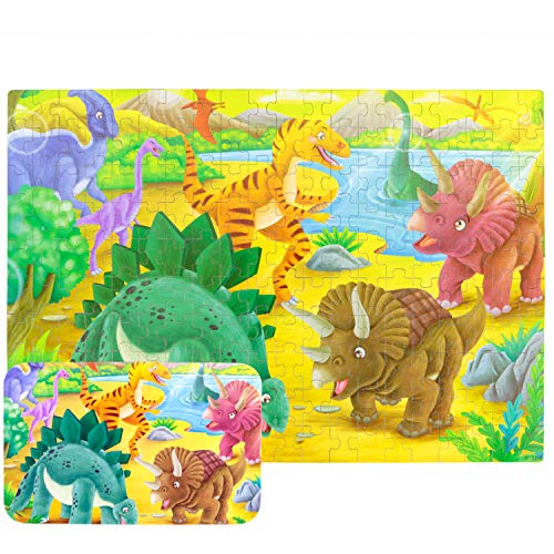 Yale Dinosaur World Kid 200 Piece Jigsaw Puzzle Game for 3-10 Age,Portable Box Pack Toy