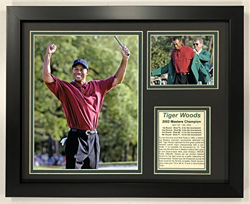 Legends Never Die PGA Tiger Woods 2002 Masters Champion Framed Double Matted Photos, 12