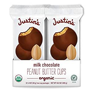 Justin's Organic Milk Chocolate Peanut Butter Cups, Rainforest Alliance Certified Cocoa, Gluten-free, Responsibly Sourced, 12 Packs of 2-Cups each