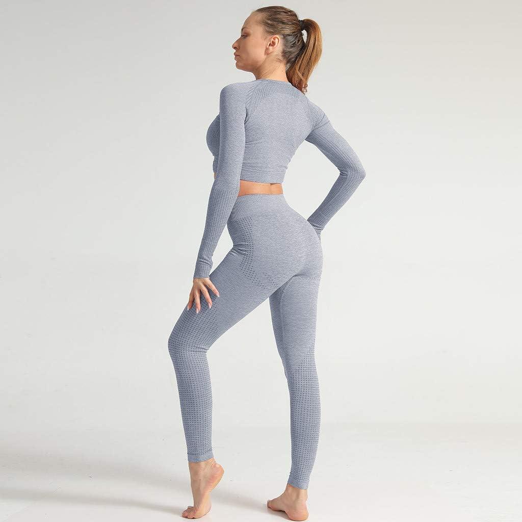 Sllowwa Damen Sportswear 2 Teile Bekleidung Yoga Set Jogginghose Sport Leggings Yoga Hose Trainingshose Pure Color Yoga-Anzug S-L