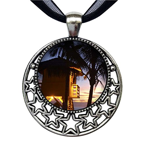 Lifeguard Hut (GiftJewelryShop Tropical Beach Lifeguard Hut Retro Style Round Seven Stars Pendant Charm Necklaces)