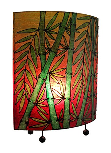 Tropical Colored Lucky Bamboo Oval Table Lamp Bamboo Tropical Table Lamp