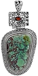 Turquoise Pendant with Faceted Garnet - Sterling Silver
