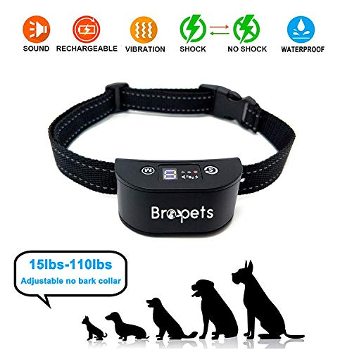 - Bark Training Collar for Small, Medium and Large Dogs - No Harm Shock, Beeping and Vibrant Modes - Rechargeable, Waterproof, Automatic Activated and Safe Anti Barking Device - Indoor Bark Control