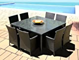 Outdoor Patio Wicker Furniture New Resin 9-Piece Square Dining Table & Chairs Set Review