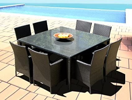 Outdoor Patio Wicker Furniture New Resin 9 Piece Square Dining Table U0026  Chairs Set