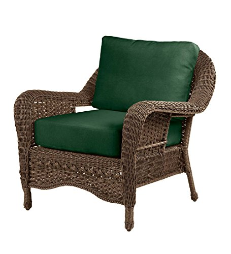 Prospect Hill Outdoor Patio Wicker Deep Seating Chair - Includes Cushions - All Weather Woven Resin - Aluminum Frame - 36 W x 36 D x 35.5 H - Beach House Walnut with Forest Green Cushions Woven Wicker Frame
