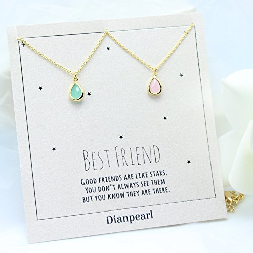 - light pink and aqua crystal necklace, Best friends necklace for 2, BFF Necklace, friendship necklace for 2, Gold dainty necklace, gemstone necklace, tiny crystal,new