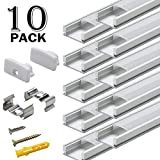 10 Pack 1M/3.3ft Aluminum LED Channel for LED Strip Lights Installation,Easy to Cut, Professional Finish,U-Shape Aluminum Profile with All Accessories for Easy Installation