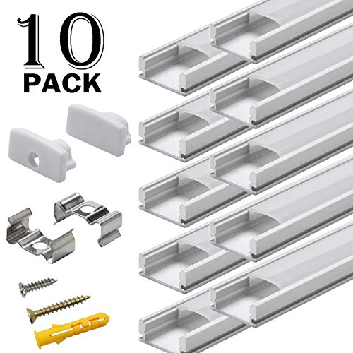 Starlandled 10-Pack Aluminum Channel for LED Strip Lights Installation,Easy to Cut,Professional Look,U-Shape LED Cover Diffuser Track with Complete Mounting Accessories for Easy Installation