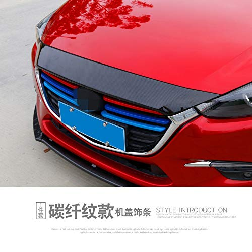 - Huanlovely: for Mazda3 Mazda 3 axela 2014-2017 Carbon Fiber Front Grille Hood Engine Cover Trim car Styling Exterior Decoration