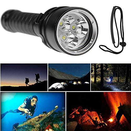 Linterna de Buceo Profesional 100M Heligen XM-L2 3xT6 LED 8000Lm S/úper brillante linterna de buceo LED L/ámparas de mano