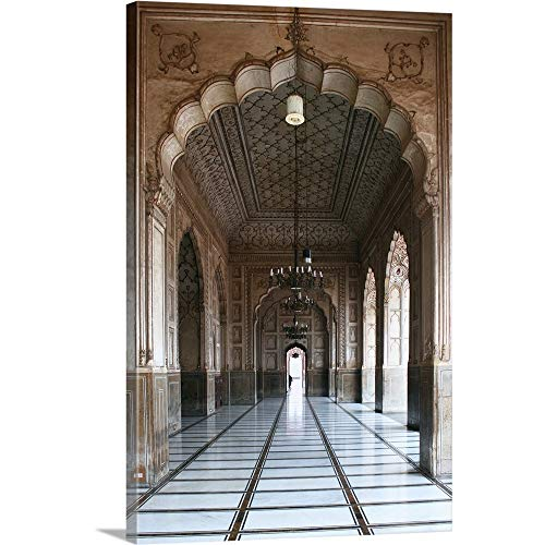 Forest Green History Arch - Badshahi Mosque, Lahore, Pakistan Canvas Wall Art Print, 32