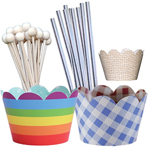 Wonderful Wizard of Oz Theme Birthday Party Supplies Pack, Over the Rainbow, Vintage Dorothy Blue Gingham Checker, Scarecrow Burlap, Tin Man Straws, Confetti Couture, 96 Pieces