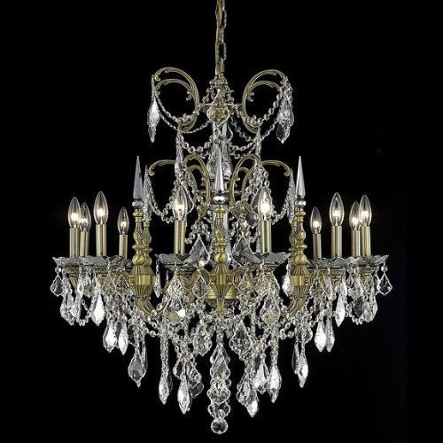 Elegant Lighting 9712D32FG/EC Cut Clear Crystal Athena 12-Light, Single-Tier Crystal Chandelier, Finished in French Gold with Clear Crystals, 32