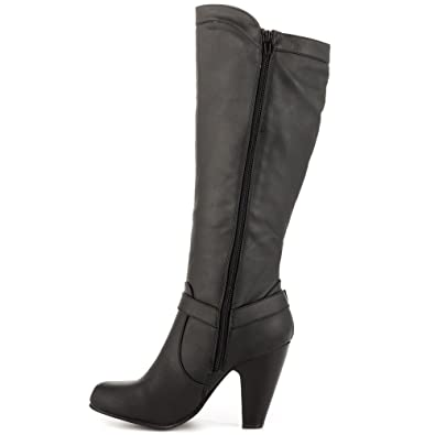 Just Fab Womens Livvy Almond Toe Mid-Calf Fashion Boots