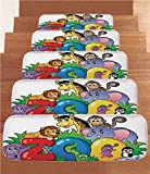 Non-Slip Carpets Stair Treads,Zoo,Zoo Sign with Various Animals Mascot Cartoon Characters Cute Playful Kids Room Print Decorative,Multicolor,(Set of 5) 8.6''x27.5''